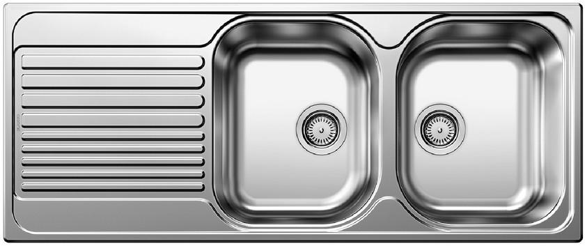 Evier en inox Blanco Tipo 520143 couleur inox 1210x500 avec 2 cuves 520143