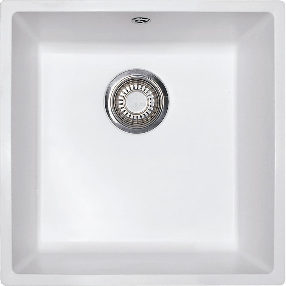 Evier en fradura Franke DOMUS 539307 couleur blanc artic 440x440 avec 1 cuve vidage automatique DMD610-44