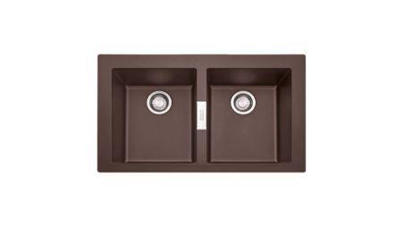 Evier en tectonite® Franke SIRIUS 511037 couleur tectonite® chocolat 860x510 avec 2 cuves SID620
