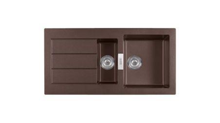 Evier en tectonite® Franke SIRIUS 099858 couleur tectonite® chocolat 1000x510 avec 1,5 cuve vidage manuel égouttoir réversible SID651