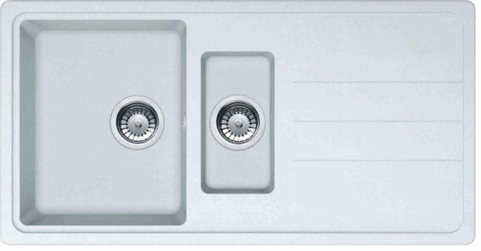 Evier Franke JASPE 651 blanc 1 bac et vide-sauce 970x500 égouttoir à droite et vidage manuel JASPE651