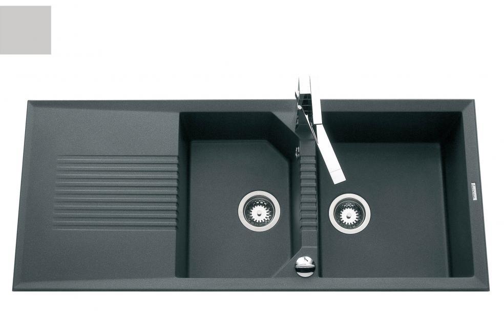 Evier en inox Luisina Soliste EV9621 022E finition luisigranit couleur grismetal 1160x500 avec 2 cuves vidage manuel égouttoir réversible EV9621