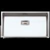 Evier en inox Rodi Box Lux Box Lux 74 BRE finition satiné couleur inox 740x400 avec 1 cuve vidage manuel