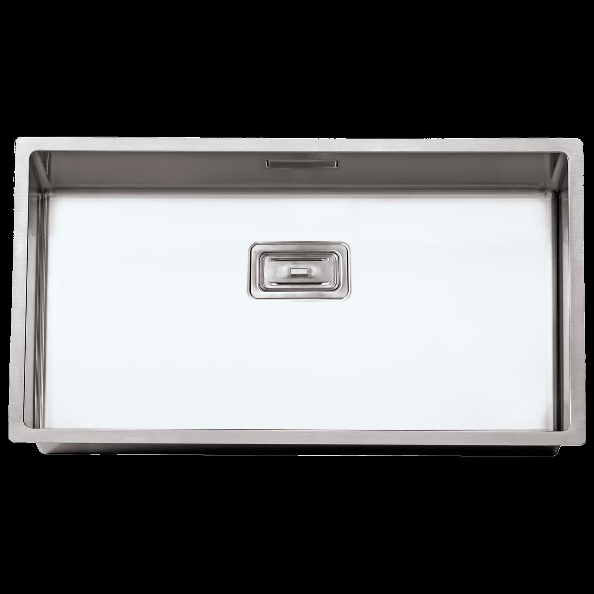 Evier en inox Rodi Box Lux Box Lux 74 BRO finition satiné couleur inox 740x400 avec 1 cuve vidage manuel Box Lux 74