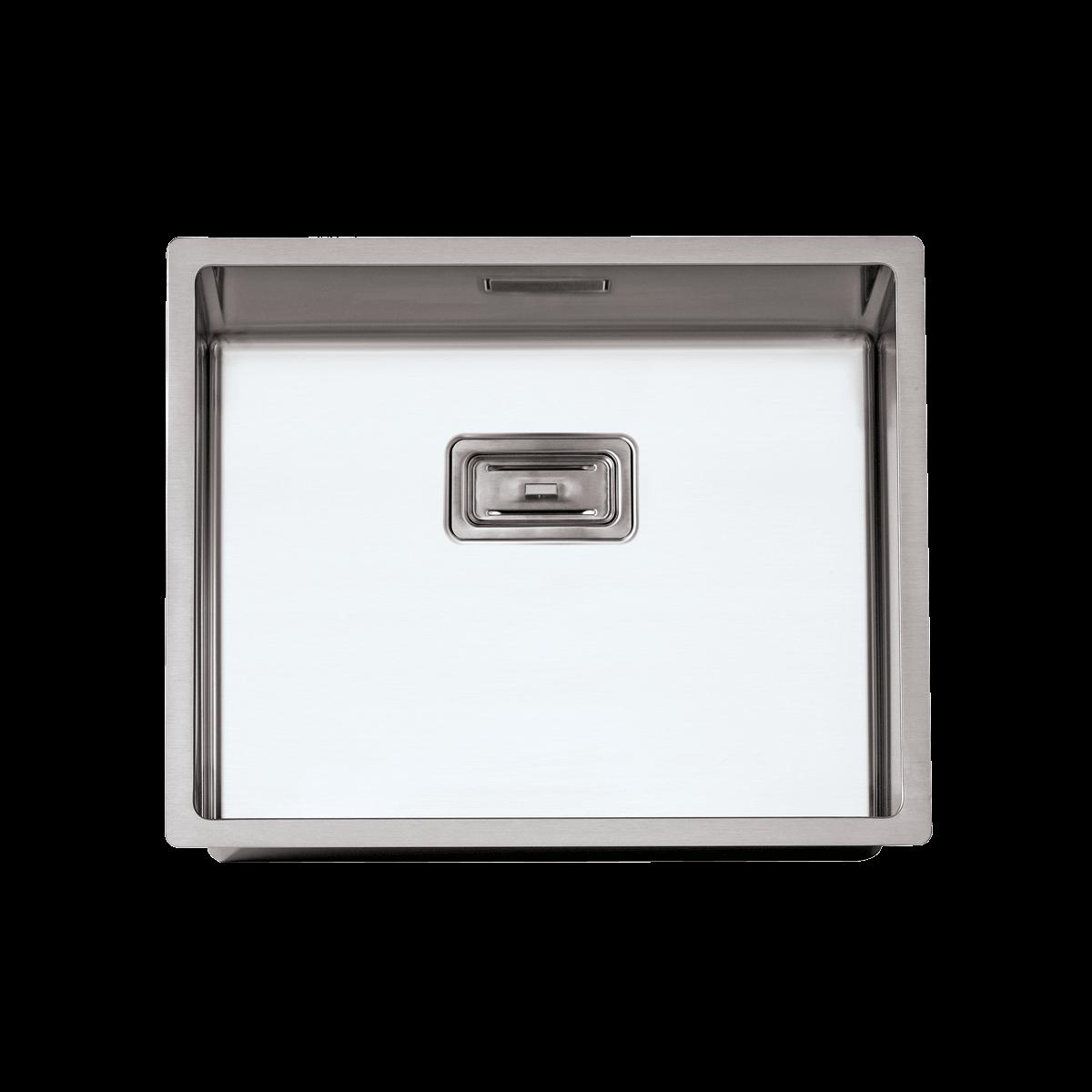 Evier en inox Rodi Box Lux Box Lux 50 BRO finition satiné couleur inox 500x400 avec 1 cuve vidage manuel Box Lux 50