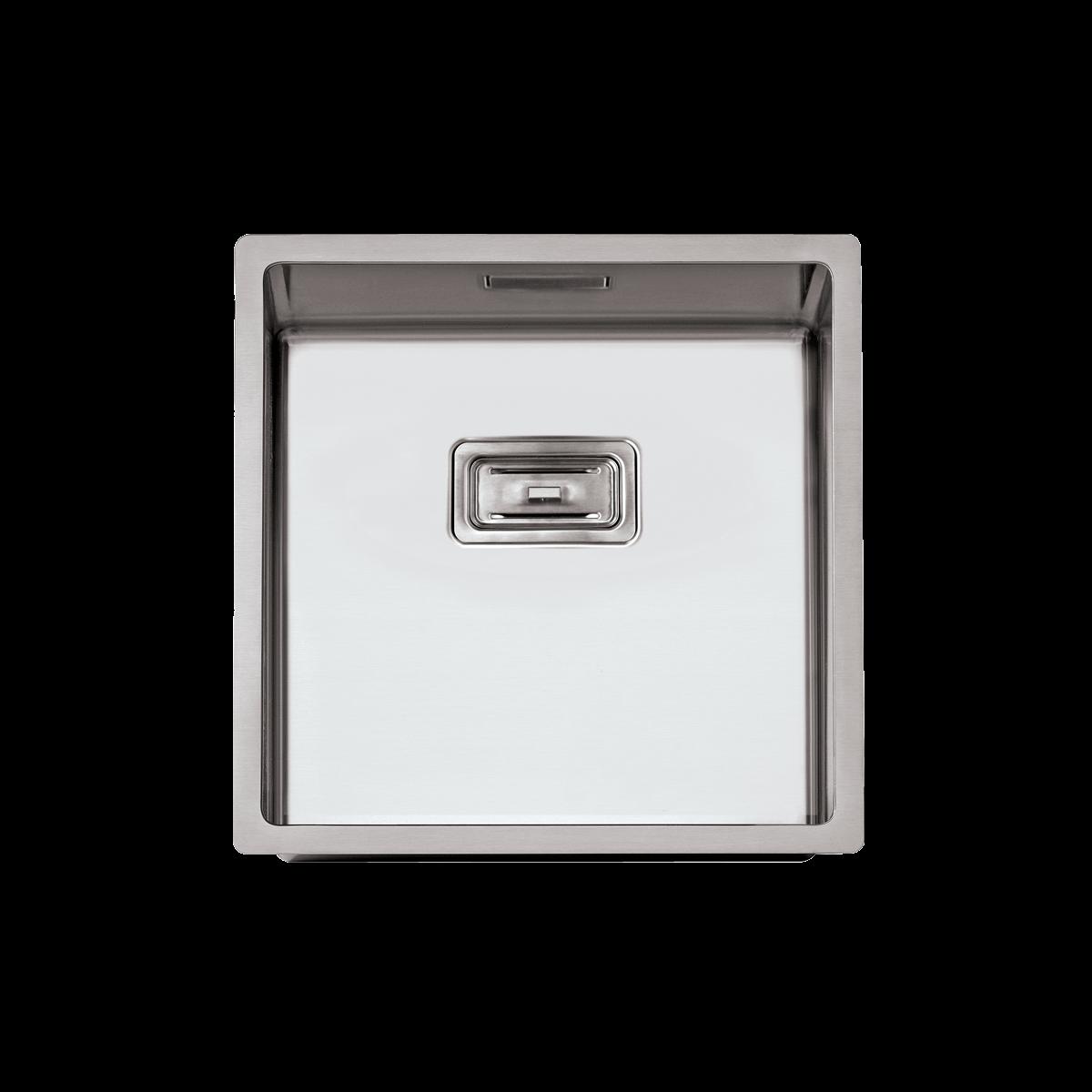 Evier en inox Rodi Box Lux Box Lux 40 BRO finition satiné couleur inox 400x400 avec 1 cuve vidage manuel Box Lux 40
