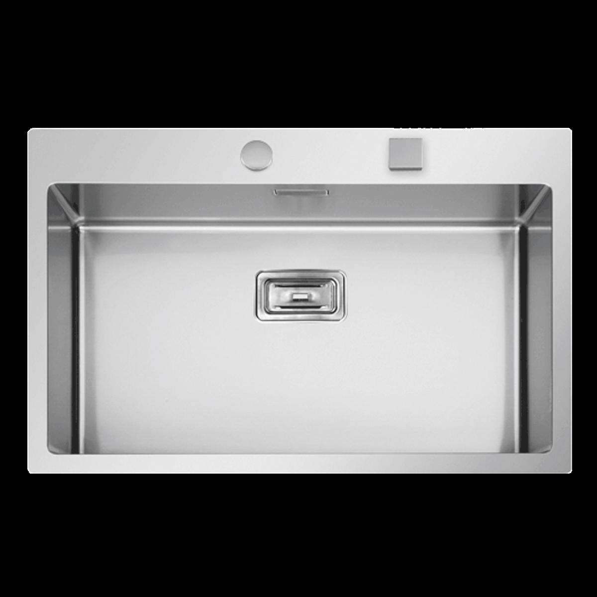 Evier en inox Rodi Box Lux Box Lux 76 BRO finition satiné couleur inox 765x510 avec 1 cuve vidage manuel Box Lux 76