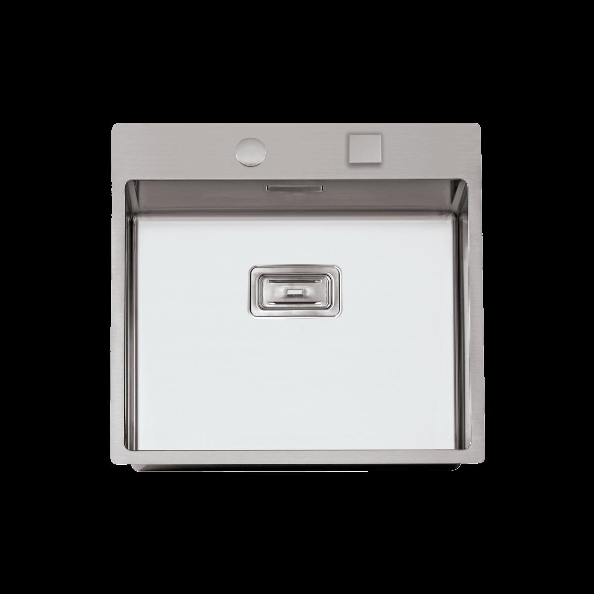 Evier en inox Rodi Box Lux Box Lux 57 BRO finition satiné couleur inox 505x550 avec 1 cuve vidage manuel Box Lux 57