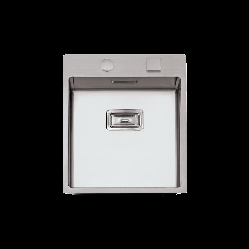 Evier en inox Rodi Box Lux Box Lux 46 BRO finition satiné couleur inox 460x510 avec 1 cuve vidage manuel Box Lux 46
