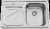 Evier Rodi Alfa Deep plus en inox poli 16I7KF1D121A2 800x500 avec vidage automatique et égouttoir à gauche